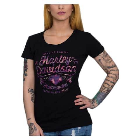 Harley-Davidson Women's Wild & Bright Round Neck Short Sleeve Cotton Tee, Black