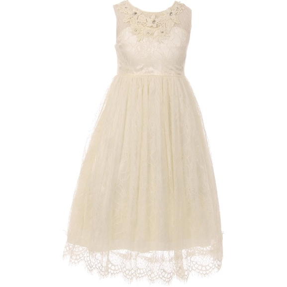 67173a991ff08 Flower Girl Dress Lace & 3D Flower Neckline Ivory CC 5036