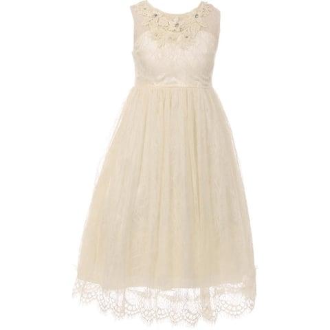 8d090dcc566 Flower Girl Dress Lace   3D Flower Neckline Ivory CC 5036