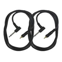 """Seismic Audio 2 Pack of 5 Foot Right Angle 1/4"""" TS to RCA Mono Patch Cable Unbalanced Cord"""