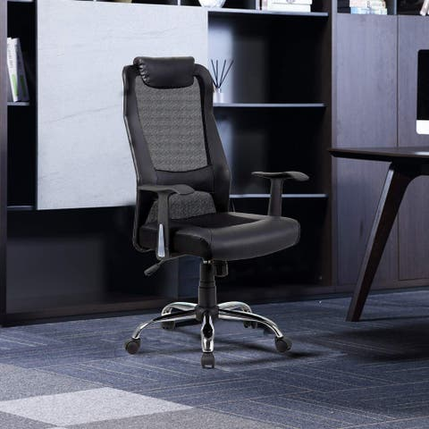 Adjustable Swivel Office Chair with Padded headrest and Ventilated Mesh