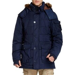 Jet Lag Faux Fur Trim Hooded Polyfill Puffer Jacket Large L Navy Parka