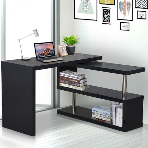"HOMCOM 75"" Modern Corner Rotating Combo L-Shaped Computer Desk Workstation with 2 Storage Shelves"