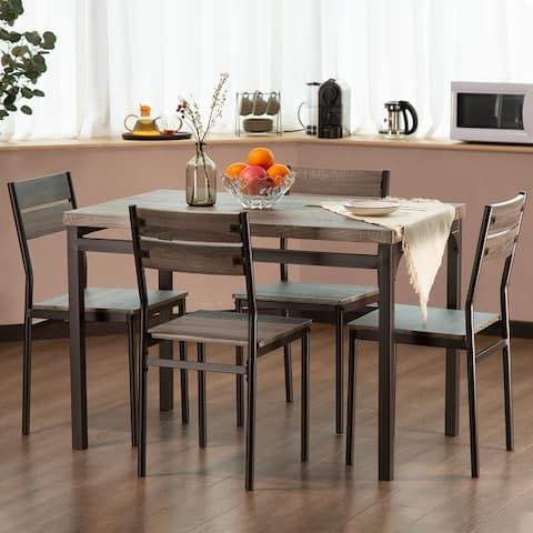 Zenvida 5 Piece Dining Set Rustic Grey Kitchen Table Set