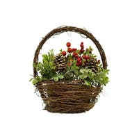 """12"""" Pine Cones Berries and Boxwood in Twig Basket Christmas Tabletop Decoration - brown"""