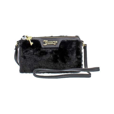 Juicy Couture Womens In The Mix Crossbody Handbag Faux Fur Logo - Small