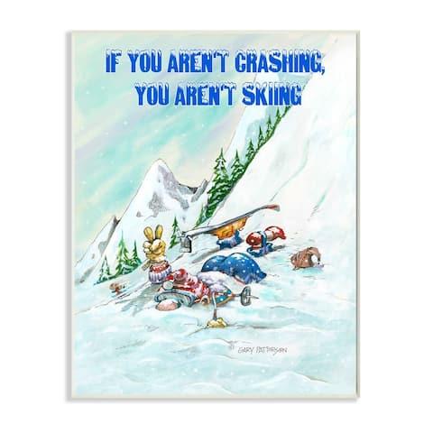 Stupell Industries Aren't Crashing Aren't Skiing Funny Sports Cartoon Design Wood Wall Art