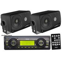 "Pyle In-Dash Marine AM/FM USB/SD Stereo Player Receiver Aux-In for iPod/MP3 + 2 x 3.5"" 200W Speakers & Remote"