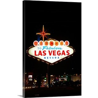 Premium Thick-Wrap Canvas entitled Illuminated welcome sign at night, Las Vegas, Nevada