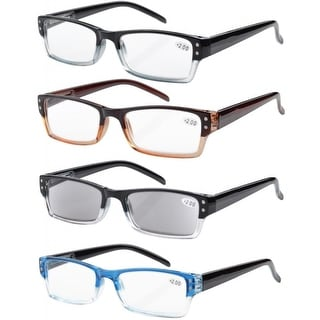 Eyekepper 4 Pack Two-Tone Color Reading Glasses Include Sunglasses