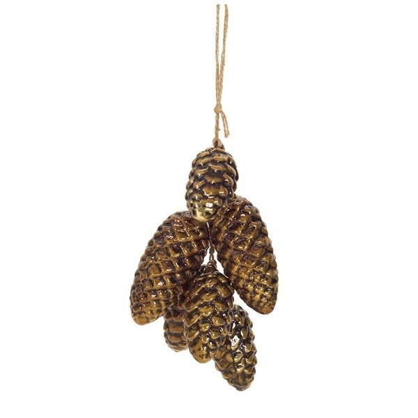 """Set of 4 Glass and Detailed Pinecone Cluster Christmas Tree Ornament 7""""H - brown"""