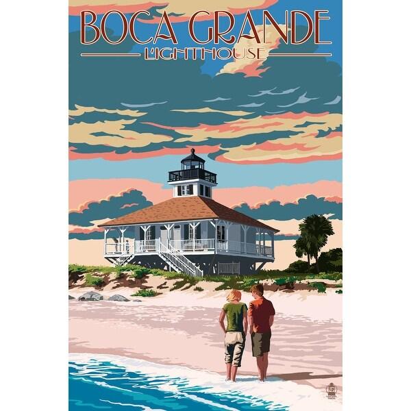 Boca Grande, FL - Lighthouse - LP Artwork (100% Cotton Towel Absorbent)