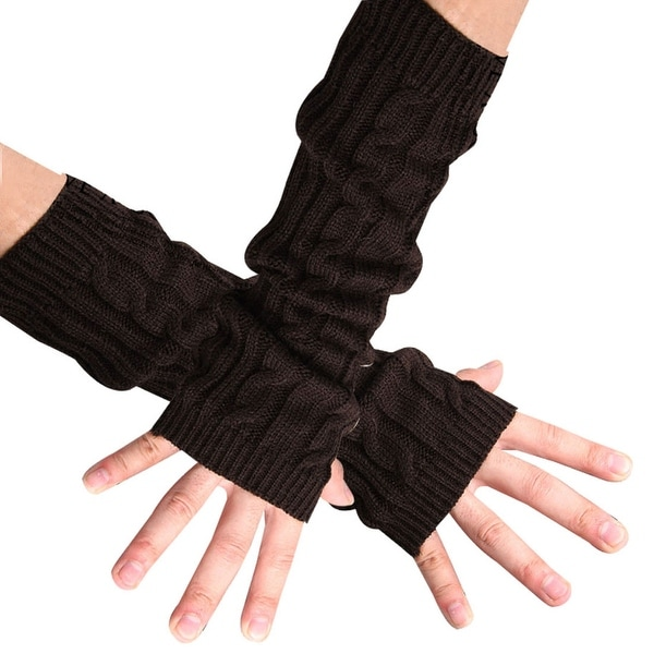 Shop Unique Bargains Coffee Color Fingerless Knitted Arm Warmers