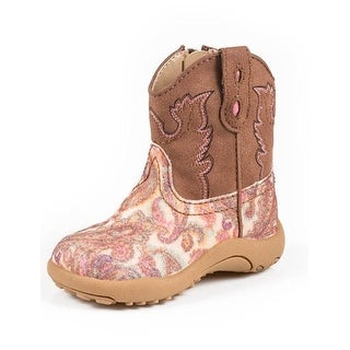 Roper Western Boots Girls Glitter Square Toe Brown