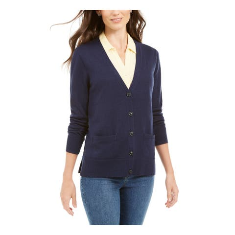 CHARTER CLUB Womens Navy Solid Long Sleeve Button Up Sweater Size XS
