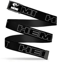 Hemi Elephant Logo Fcg Black White  Chrome Hemi Bold Outline Black Web Belt