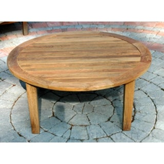 "36"" Natural Teak Round Outdoor Patio Wooden Coffee Table"