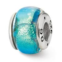 Sterling Silver Reflections Blue Dichroic Glass Bead (4mm Diameter Hole)