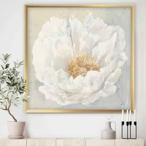 Designart 'White Serene Peony' Cottage Framed Art Print