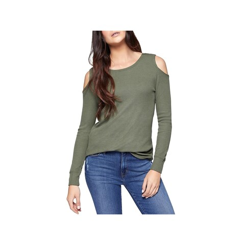 Sanctuary Womens Pullover Top Thermal Cold Shoulder