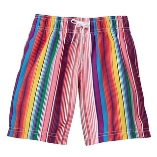 Azul Baby Boys Multi Color Vertical Stripe Print Crayons Swim Shorts