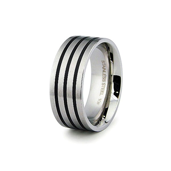 9mm Stainless Steel Men's Ring with Black Resin Inlay - Size 12