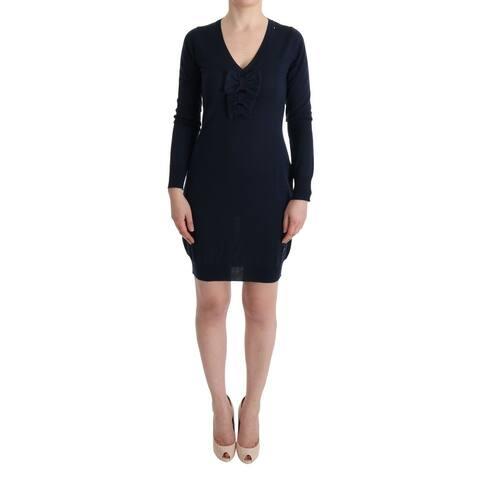 Blue Wool Long Sleeve Shift Men's Dress