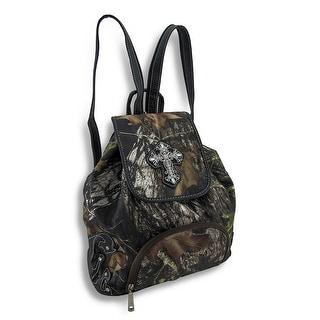 Forest Camouflage Rhinestone Cross Backpack Sling Bag