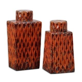 "Set of 2 Distressed Burnt Red Orange Ceramic Decorative Table Top Containers 13"""