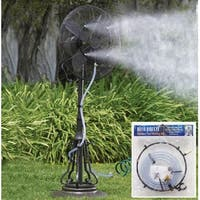 Outdoor Garden Patio Fan Water Misting Kit - Black