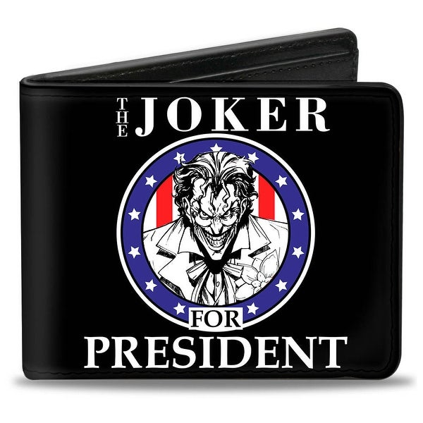 The Joker For President Seal Black White Blue Red Bi Fold Wallet - One Size Fits most