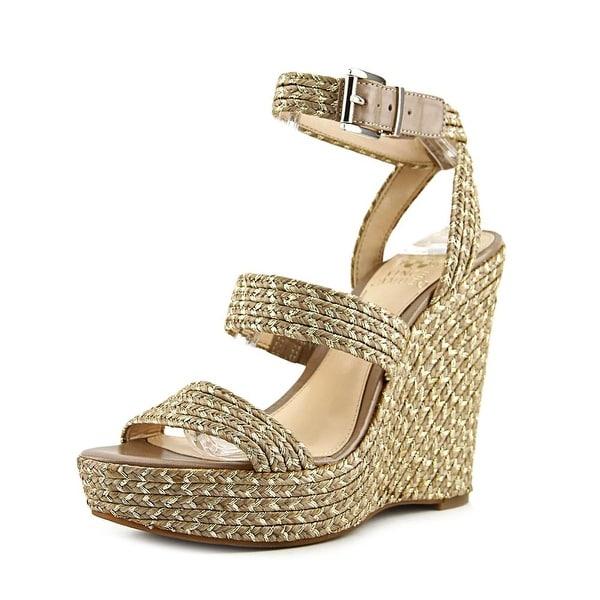 Vince Camuto Melisha Women  Open Toe Canvas Gold Wedge Sandal