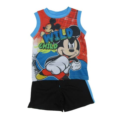 "Disney Baby Boys Black Blue Mickey Mouse ""Wild Child"" 2 Pc Shorts Outfit"