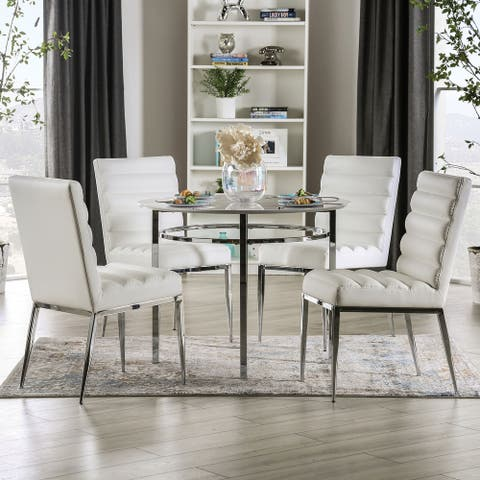 Furniture of America Lera Contemporary White Round 5-piece Dining Set