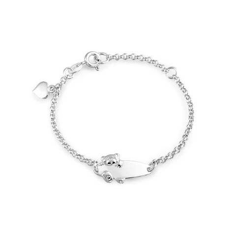 Engravable Name Plate Teddy Bear ID Identification Bracelet For Women For Teen 925 Silver Sterling Small Wrists 5-6 Inch