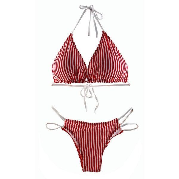 7d8d776e2f Stripe Print Padding Bra Swimwear Bathing Suit Women Swimsuit Bikini Set Red  M