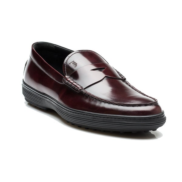 edfa9b6af66 Tod's Men's Patent Leather Moccasins Loafer Shoes Burgundy