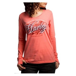 Harley-Davidson Women's Fast Freak Long Sleeve Scoop Neck Shirt, Pink 5Q27-HD04
