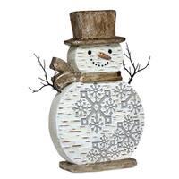 "20.5"" Festive Birch Bark Snowman Adorned with Snowflakes Christmas Decoration Figure"