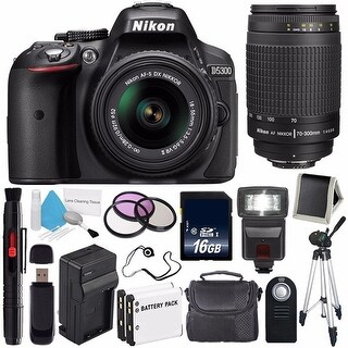 Nikon D5300 Digital Camera w/ 18-55 VR II Lens (International Model No Warranty) + Nikon 70-300mm f/4-5.6G Zoom Lens Bundle 38