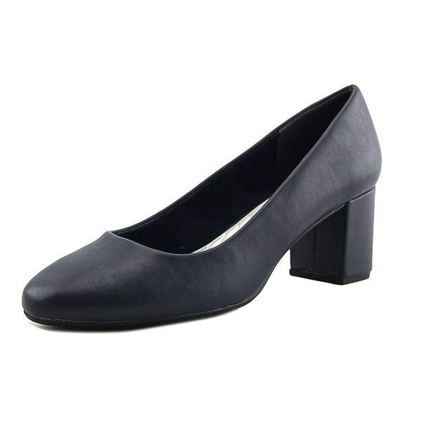 Easy Street Proper Women Round Toe Synthetic Blue Heels