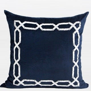 """G Home Collection Luxury Blue Handmade Textured Frame Beaded Pillow 20""""X20"""""""