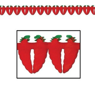 """Pack of 12 Fiery Red Hot Chili Pepper Garland Decorations 5.5"""" x 12'"""