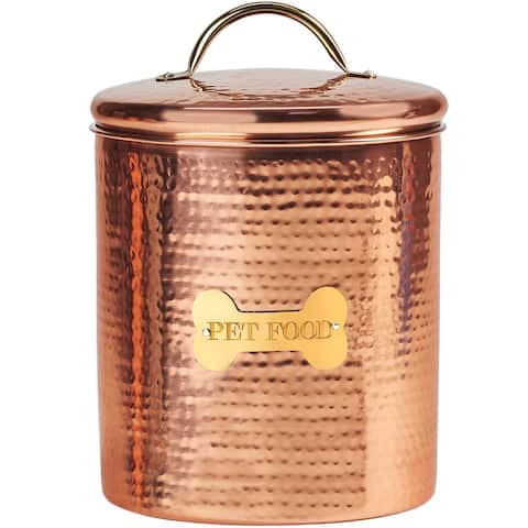 King Charles Copper Dog Extra Large Canister for Pet Food 10 Inch - Copper Gold - Cooper Gold
