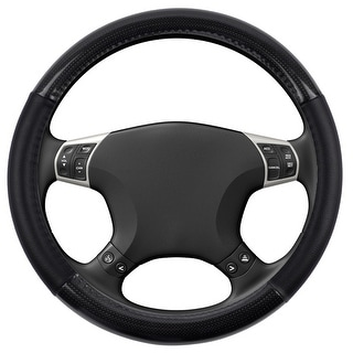 KM World Black 13.5-14.25 Inch PU Leather and Carbon Design Steering Wheel Cover With Precise Hand Placements, Fits Mazda 3
