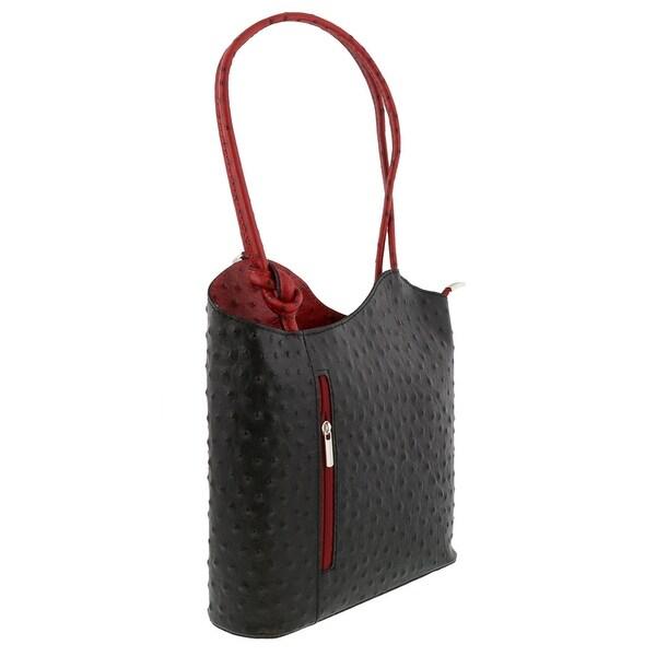 HS Collection HS3005 NR PHOEBE Black/Red Backpack/Shoulder Bag - 12-10-3.5