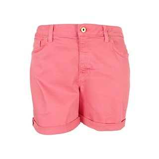 Tommy Hilfiger Women's Colored Wash Cuffed Denim Shorts (Coral, 16) - Coral - 16