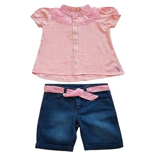 Link to US Polo Dusty Pink Denim 2pc Summer Top Shorts Outfit Little Girls Similar Items in Girls' Clothing