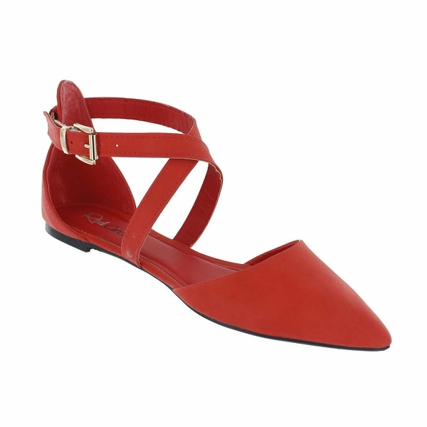 Red Circle Footwear 'Lena' Pointed Flat with Criss Cross Straps