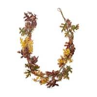 5' Glittered Acorn and Hawthorne Leaf Artificial Thanksgiving Garland - Unlit - Multi